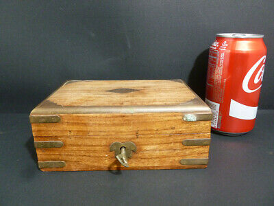 Antique Old Chinese Huang Huali Wooden( Grain ) Box W/ Original Key 7720