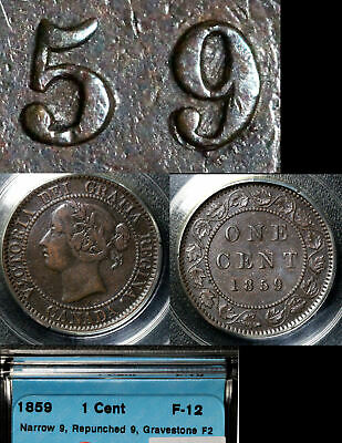 FEBRUARY SALE: Large Cent - 1859 Repunched 9/9 - F (b303)