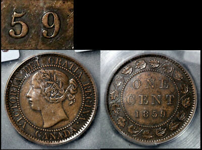 FEBRUARY SALE: Large Cent - 1859 Repunched 5/5 Haxby I5 - AU (b305)