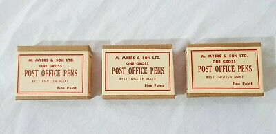 3 x NOS Boxes of Post Office Pen Nibs by M. Myers & Sons (One Gross Fine Point)