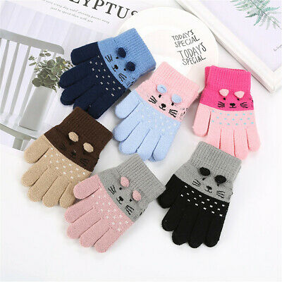 Finger Warm Baby Kids Boys Girls Thick Kids Gloves Cartoon Cat Knitting Mittens