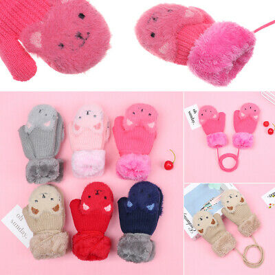 Baby Newborn Keep Finger Warm Thick Knitting Mittens Kids Gloves Plus Velvet