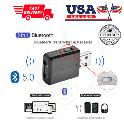 3 in 1 USB Bluetooth 5.0 Transmitter & Receiver Audio Adapter Wireless Converter