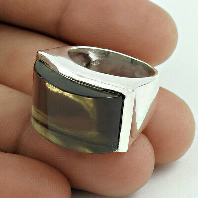 WOMAN GIFT!! Natural SMOKY QUARTZ HANDMADE 925 Silver Ethnic Ring Size 6 DF77