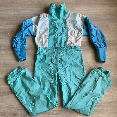 Head Vintage Track Suit Warm Up Teal Blue Jumpsuit Women's Size Small One Piece