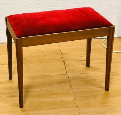 Mid Century Teak framed Piano or Dressing Table Stool