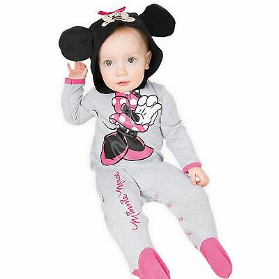 Official Disney Cute Minnie Mouse Disney Fancy Dress Costume Hooded All In One