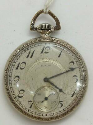 Antique 1928 ELGIN Open Face 17 Jewels Pocket Watch 12 Size From Japan Rare