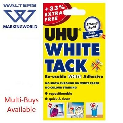 UHU White Tack, 33% Extra Free, Reusable White Adhesive, For sticking notes etc