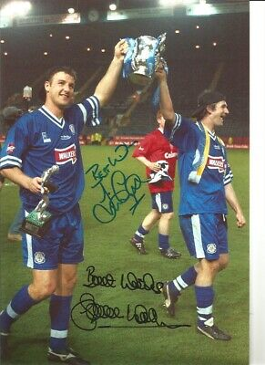 Simon Grayson Steve Walsh Leicester hand signed authentic football photo SS253