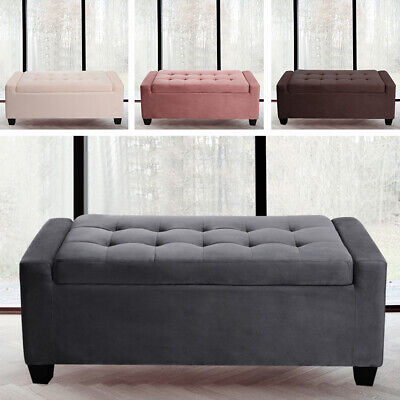 Extra Large Chesterfield Velvet Footstool Ottoman Bench Storage Pouffe Furniture