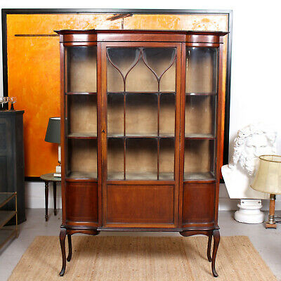 Large Antique Glazed Bookcase Victorian Mahogany Astragal Display Cabinet