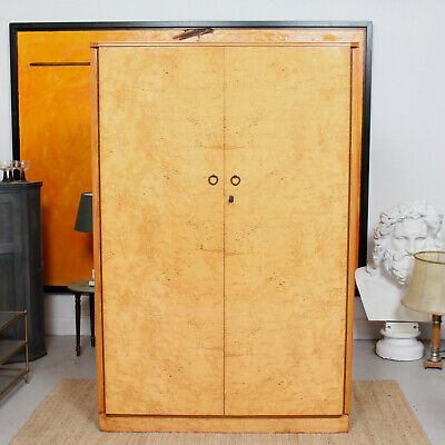 Vintage Birdseye Maple Wardrobe Art Deco Compactum Armoire