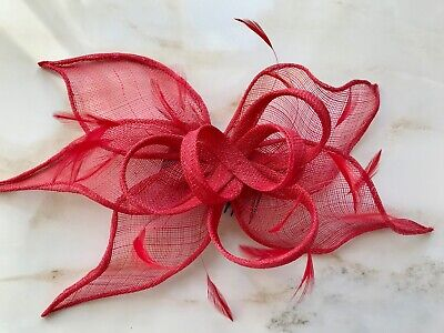 NEW - NIKITA ROSE DESIGNS Red Feather Net Bow Ladies Fascinator Headpiece