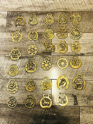 Huge Collection Of 29 Horse Shoe Brass Brass's Vintage Antique (&92)