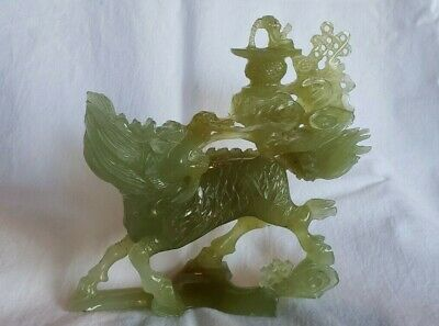 Large Antique Chinese Natural Nephrite Celadon Jade Carved Statue DRAGON