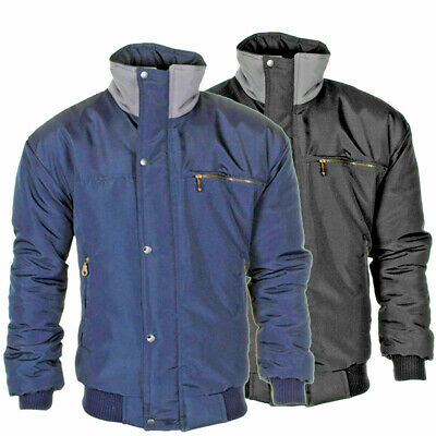 MENS NEW CLASSIC WARM PADDED CHECK LINED BOMBER RAIN JACKET FOR WORK WALKING