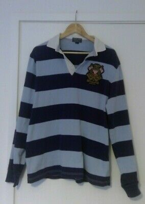 Ralph Lauren Rugby Shirt, Mens Blue Striped, Polo Jeans Company, 100% Cotton