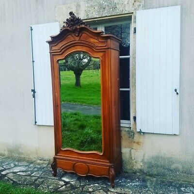 Antique French Armoire, Louis XV, Beautiful 19th Century Oak Rocco Wardrobe