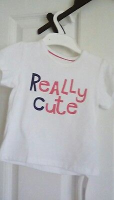 M&S Baby Girls White short sleeved really cute t-shirt age 9-12 months bnwt