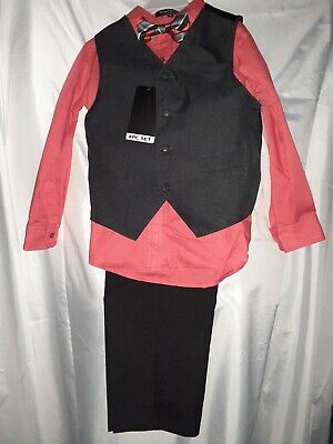 SAHARA CLUB New boys 4 PC dress size 6 Pants, Shirt with vest and bow tie
