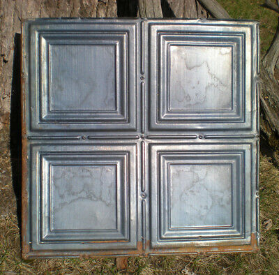 4 Gun Metal Blue Antique Ceiling Tin Tiles Simple Elegant Frame Canvas Chic