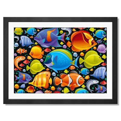 A3  - Tropical Fish Variety Ocean Underwater Framed Prints 42X29.7cm #8333
