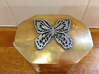 Antique-Arts & Crafts-Hand Made Brass Box .  Pewter butterfly