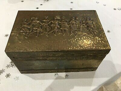 Vintage Arts and Crafts Brass Sewing Box  Dancers Repousse Detail