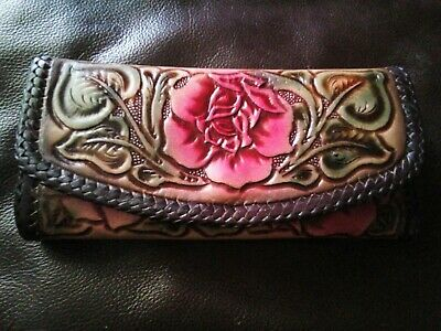Vintage Mexican Hand Tooled Leather Men/'s Wallet or Saddle Coin Bag