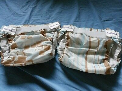 Bumkins Original Diaper Covers Lot 2 SZ M Blue Brown Girl 15-22 LB Made USA