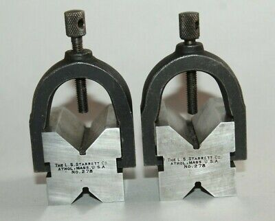 a) Starrett No. 278 - 1 Pair V-Block with Clamps machinist tools inspection