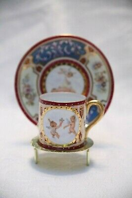 Austria Red White Blue Can Teacup/Saucer W Floral Design And Cherubs