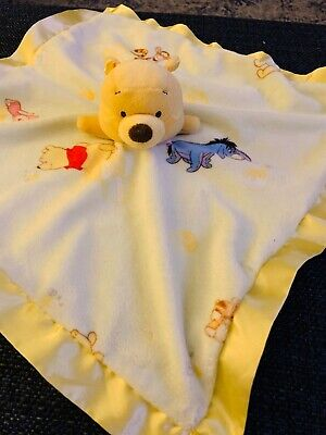 Disney Winnie the Pooh Security Blanket Lovey Lovie Yellow Satin Trim