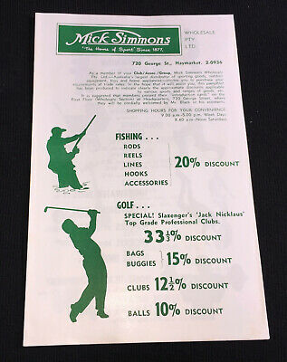 1960s MICK SIMMONS HOME OF SPORT SALES FLYER Tennis Cricket Fishing Golf etc