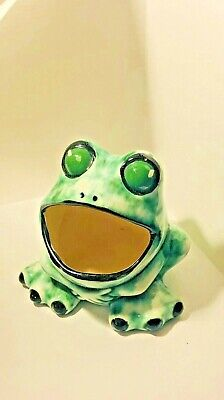 1970 Vintage Ceramic Frog Scrubber Sponge Holder / Planter Green Kitchen