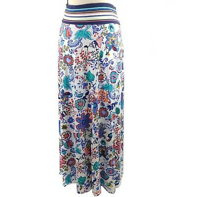 Milly Design Nation Maxi Skirt Womens Size XL White Blue Red Floral Print Jersey