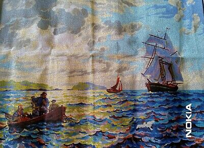 LARGE TAPESTRY CANVAS of Fishermen and Sailboats