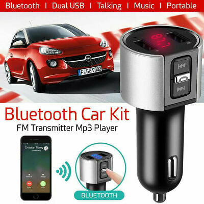 Car Bluetooth FM Transmitter MP3 Player Radio Adapter Dual USB Charger Handsfree
