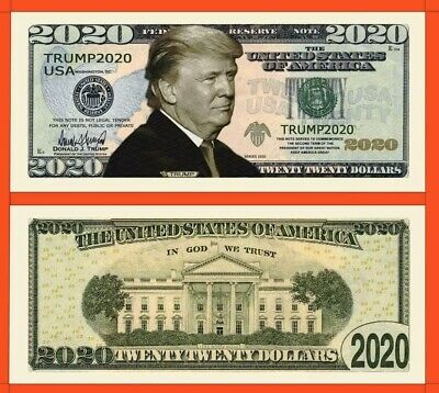 Pack of 100 - Donald Trump 2020 Re-Election Presidential Novelty Dollar Bills.