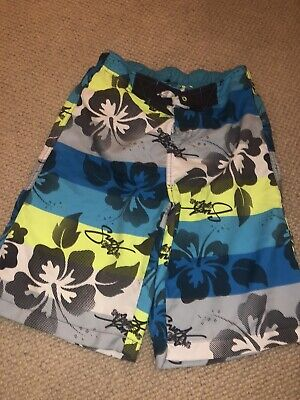 Blue Grey Green Floral Striped Boys Swimshorts Age 12-13 By Urban Outlaws Sports