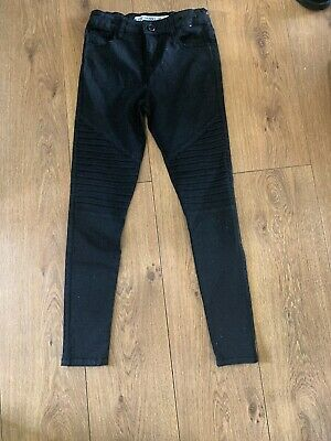 Girls Age 10-11 Years Sparkly Biker Style Jeans Black