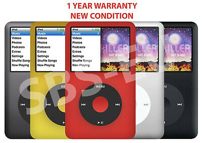Apple iPod Classic 7th Generation 512 256 160 120 80 GB -Black Silver Gold Red