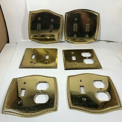 Lot of 6 Brass Outlet Light Switch Plate Covers