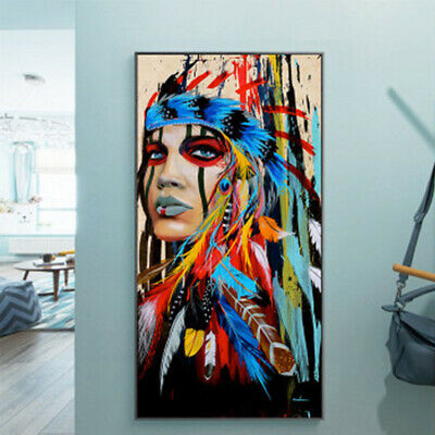 Abstract Indian Woman Canvas Oil Painting Print Picture Home Decor  50*100cm