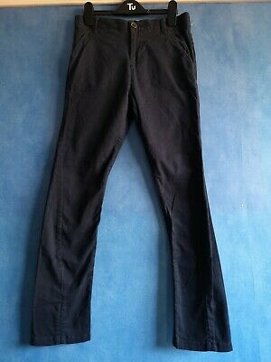 Next Navy Cotton Twisted Slim Leg Adjustable Waist Chinos Trousers Age 11 Years