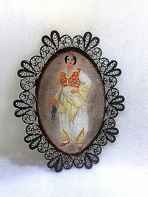 Vintage Old Handmade Copper Filigree Hanging Plate-Painted Plate-Comunism-1960-R