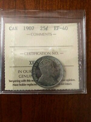 Canada silver 25 cents 1907 ICCS Graded EF-40 Nice Edward VII quarter