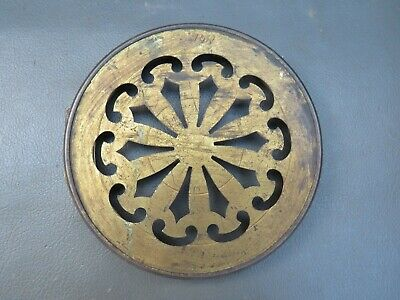 Antique brass pierced clock back door spares parts 116 mm diameter
