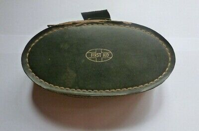 Vintage First Aid Kit With Leather Case Original Items Inside .